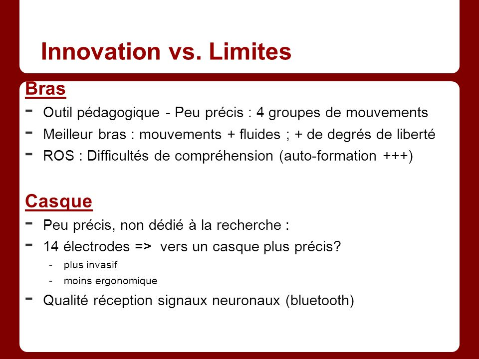 Innovation vs. Limites Bras Casque