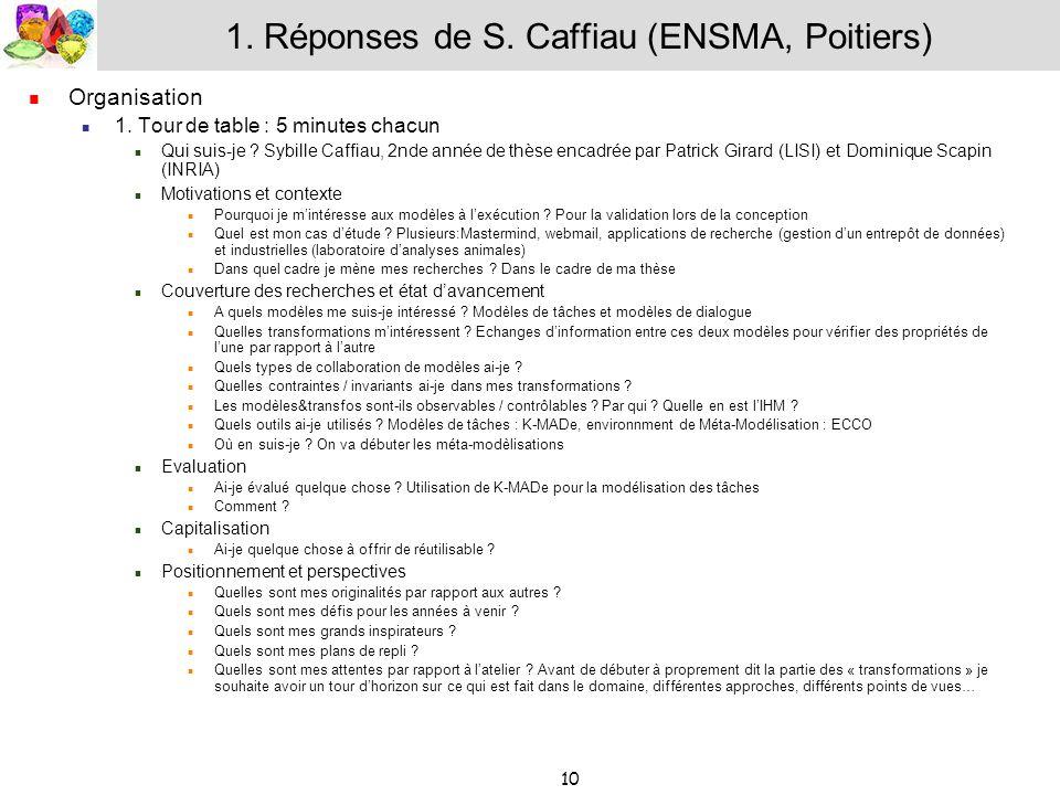 1. Réponses de S. Caffiau (ENSMA, Poitiers)