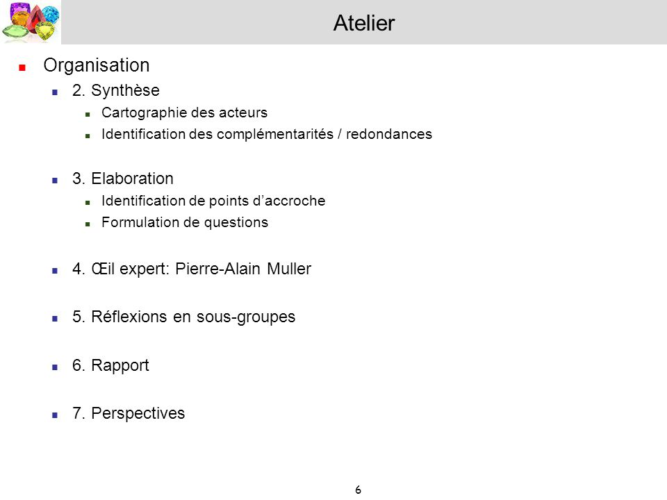 Atelier Organisation 2. Synthèse 3. Elaboration