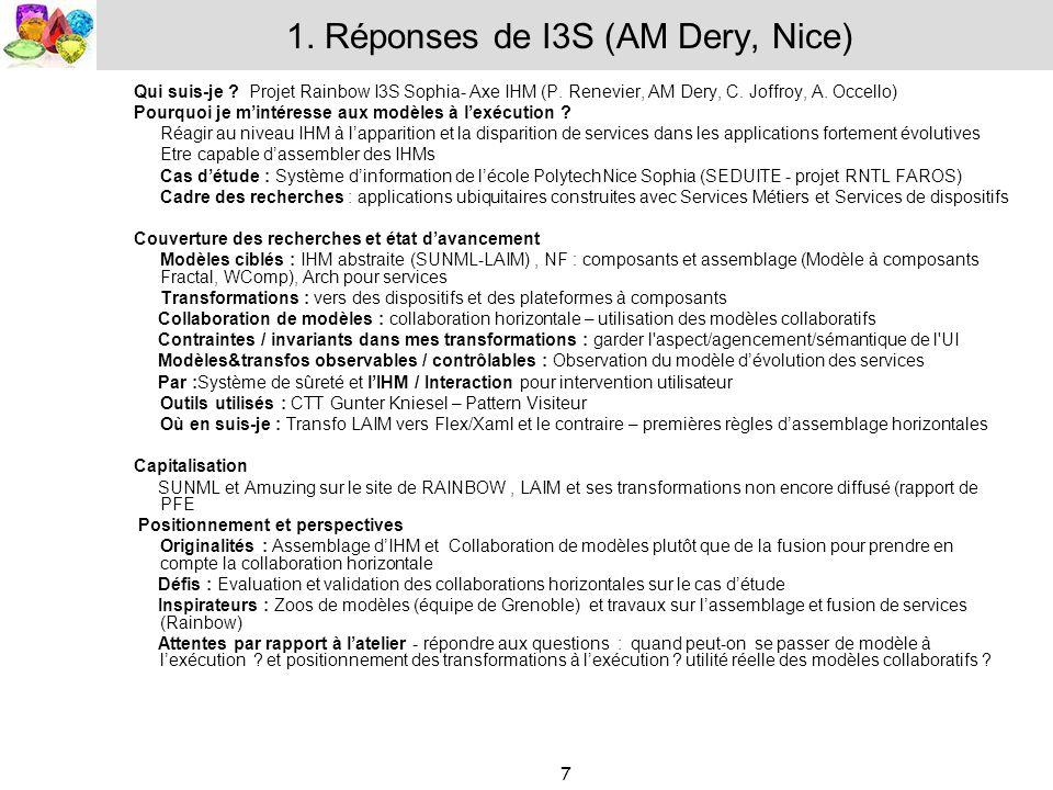 1. Réponses de I3S (AM Dery, Nice)