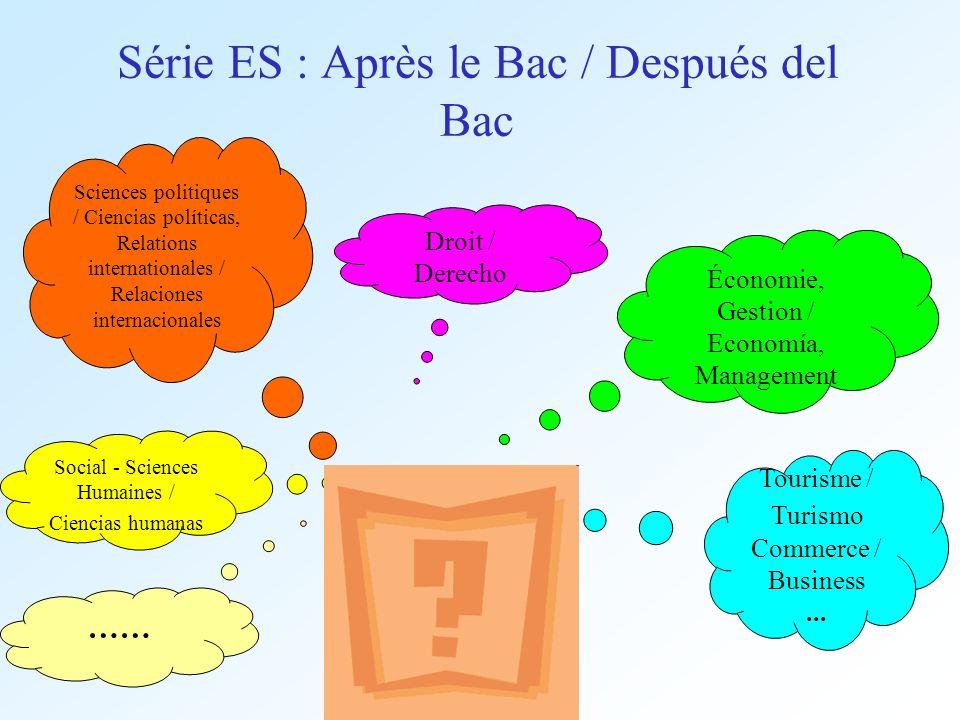 Série ES : Après le Bac / Después del Bac