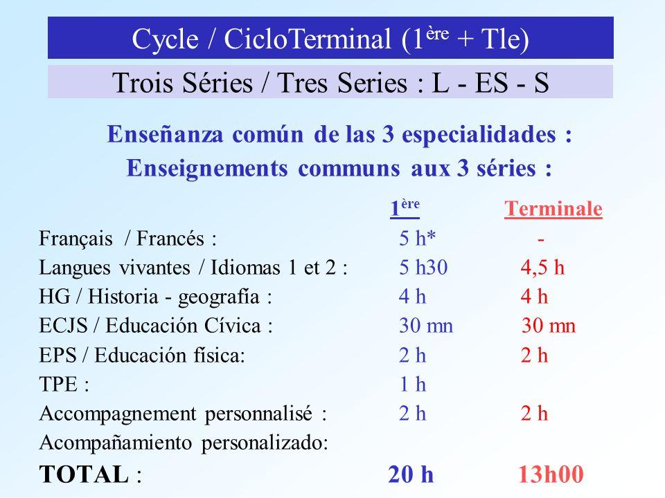 Trois Séries / Tres Series : L - ES - S