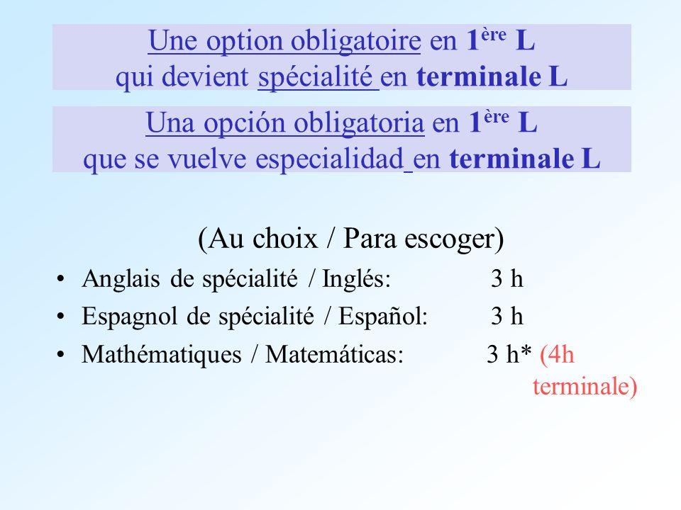 Une option obligatoire en 1ère L qui devient spécialité en terminale L