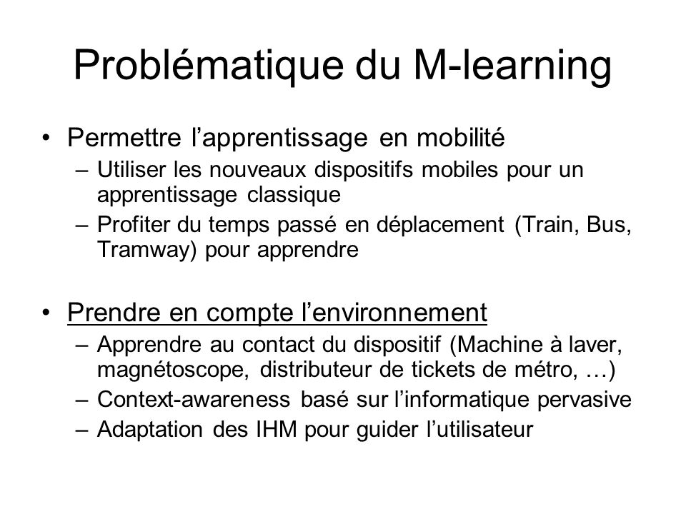 Problématique du M-learning