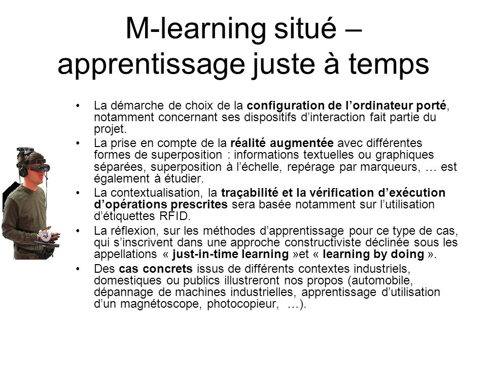 M-learning situé – apprentissage juste à temps