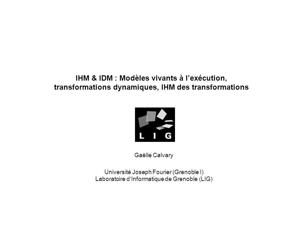 IHM & IDM : Modèles vivants à l'exécution, transformations dynamiques, IHM des transformations