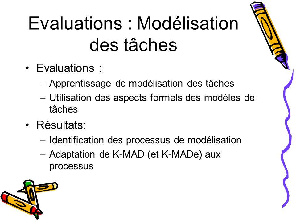 Evaluations : Modélisation des tâches