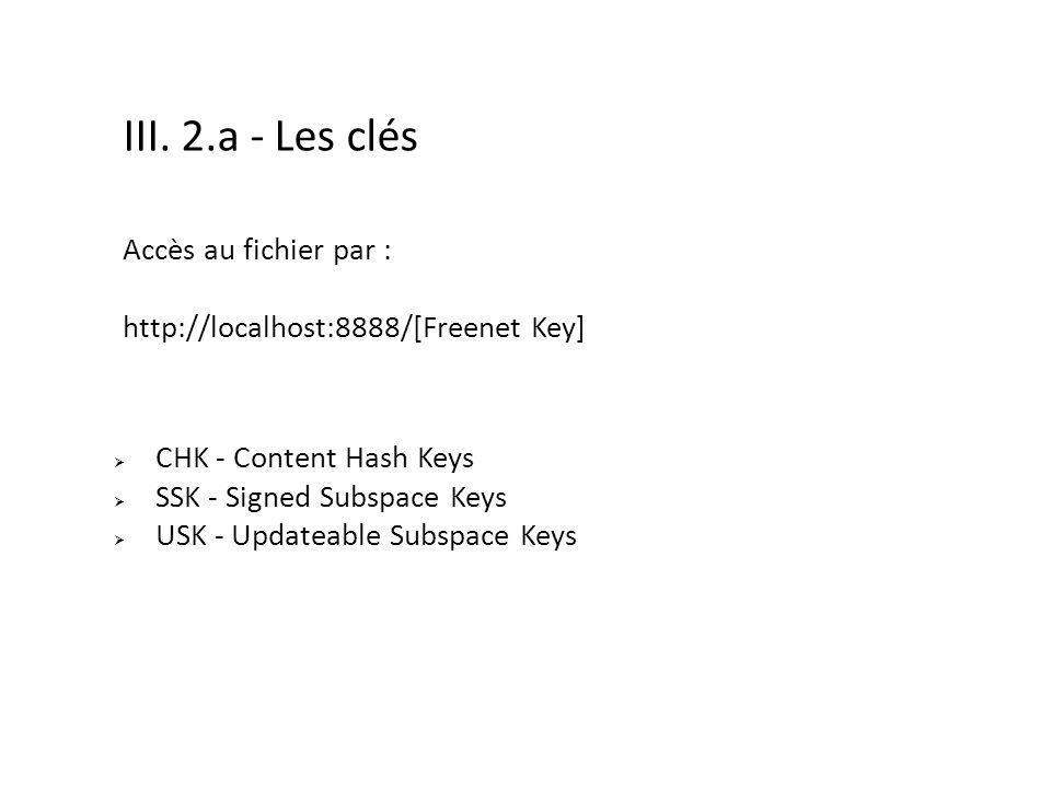 III. 2.a - Les clés Accès au fichier par :