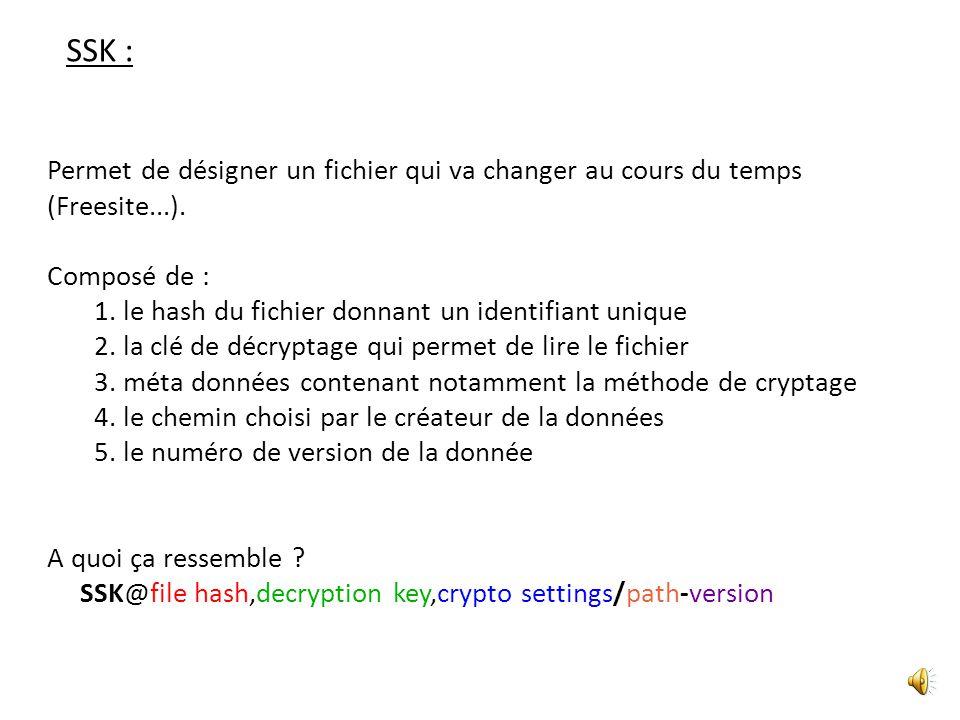 SSK : Permet de désigner un fichier qui va changer au cours du temps (Freesite...). Composé de :