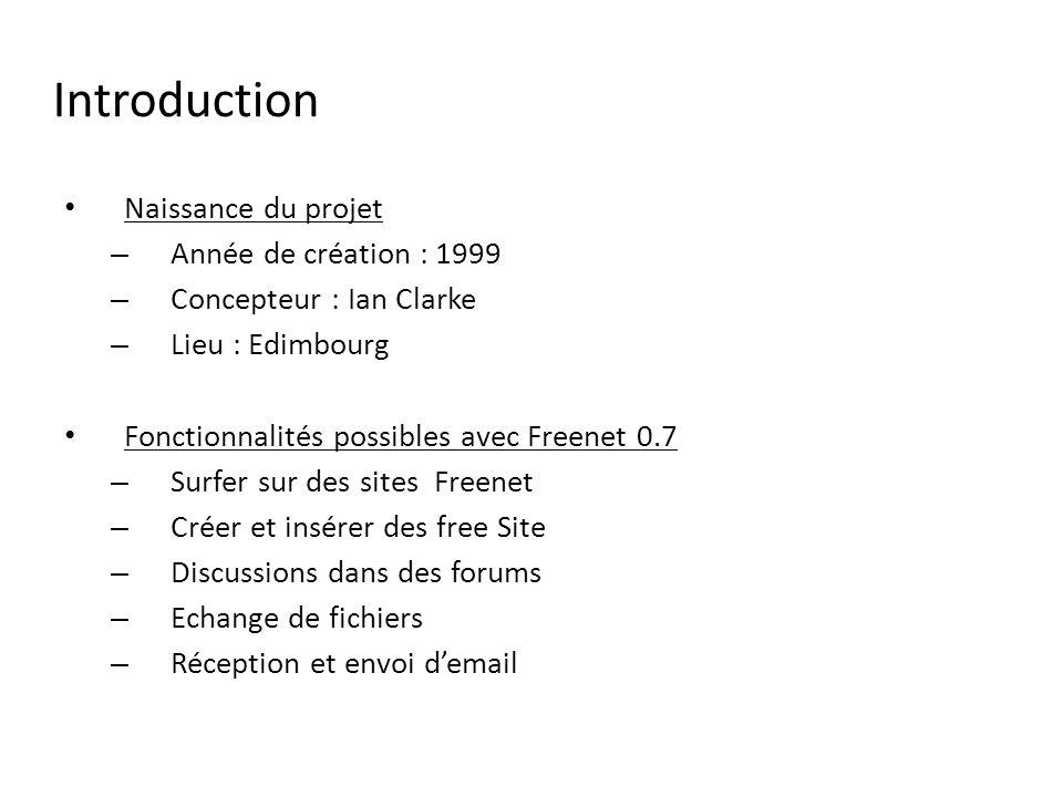 Introduction Naissance du projet Année de création : 1999