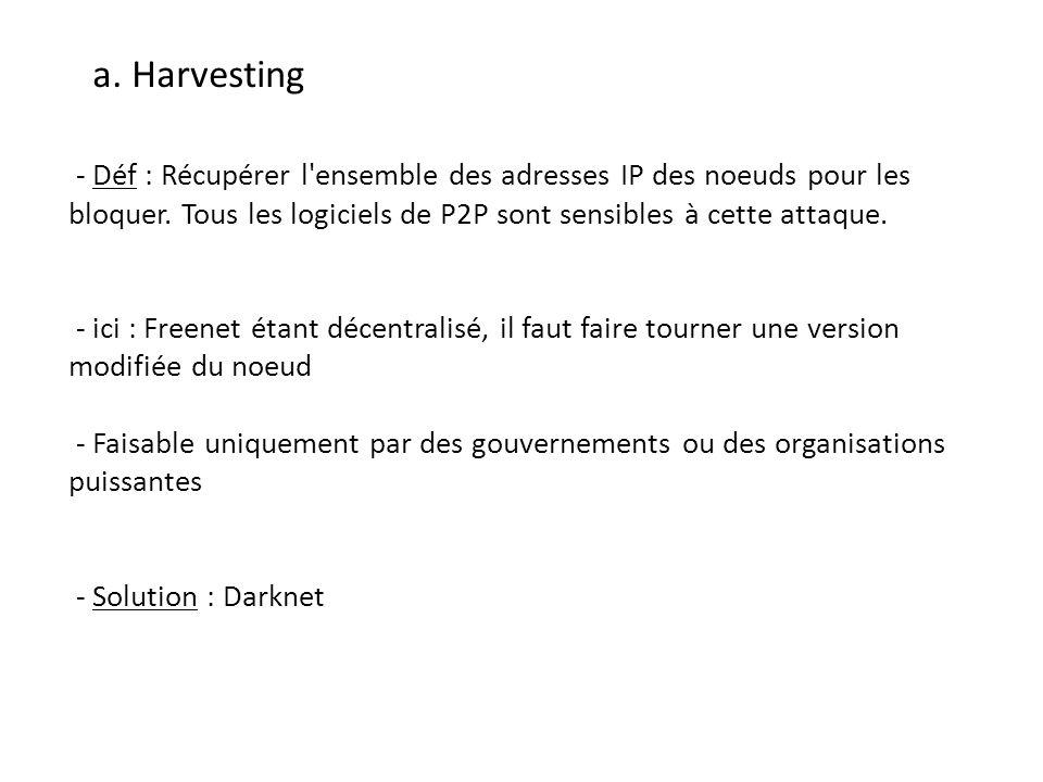 a. Harvesting - Déf : Récupérer l ensemble des adresses IP des noeuds pour les bloquer. Tous les logiciels de P2P sont sensibles à cette attaque.