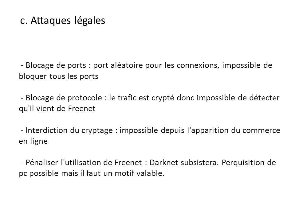 c. Attaques légales - Blocage de ports : port aléatoire pour les connexions, impossible de bloquer tous les ports.
