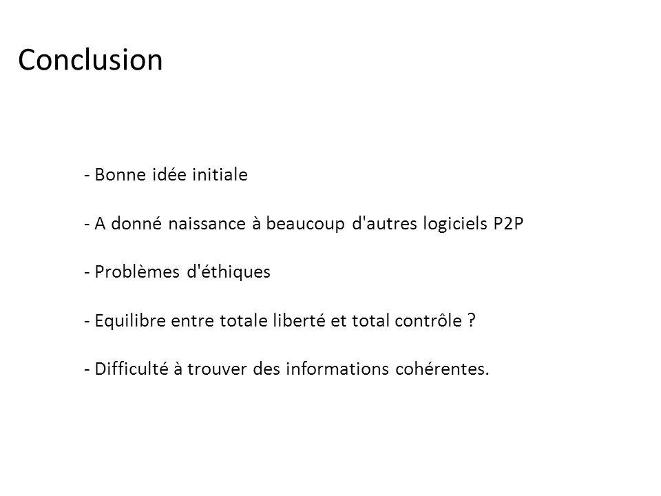 Conclusion - Bonne idée initiale