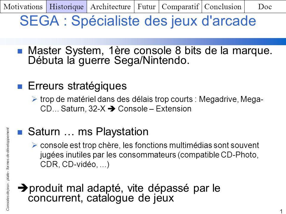 SEGA : Spécialiste des jeux d arcade