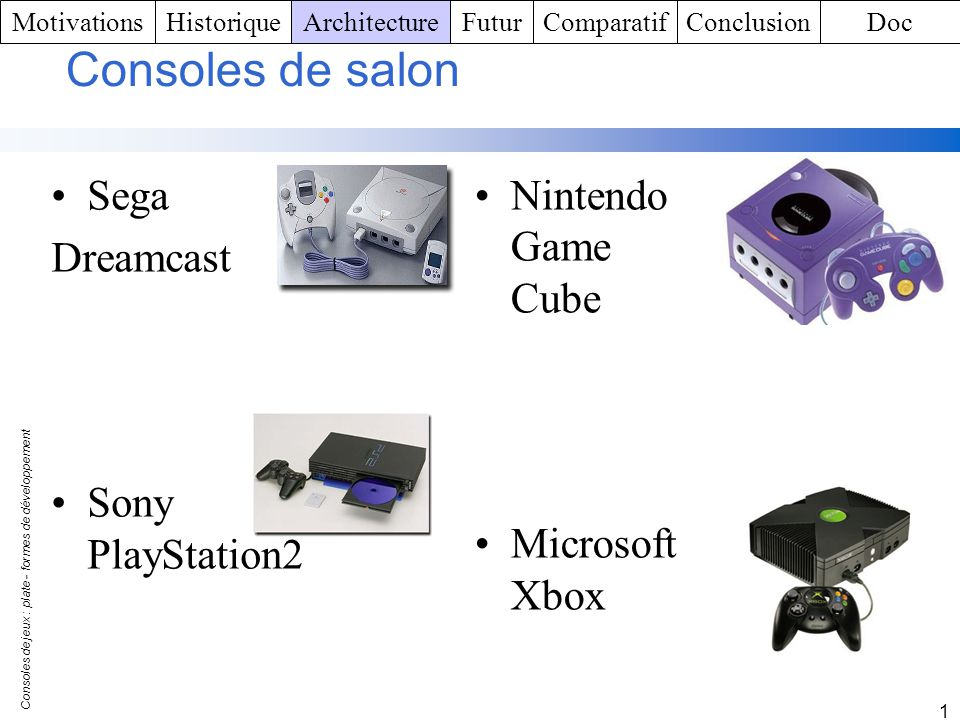 Consoles de salon Sega Dreamcast Sony PlayStation2 Nintendo Game Cube