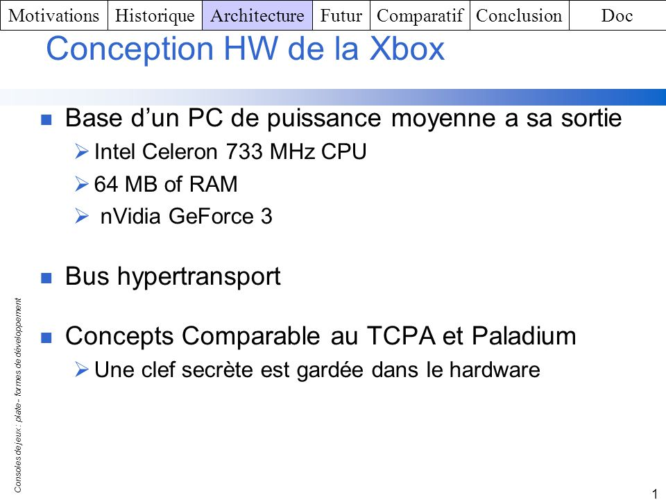Conception HW de la Xbox