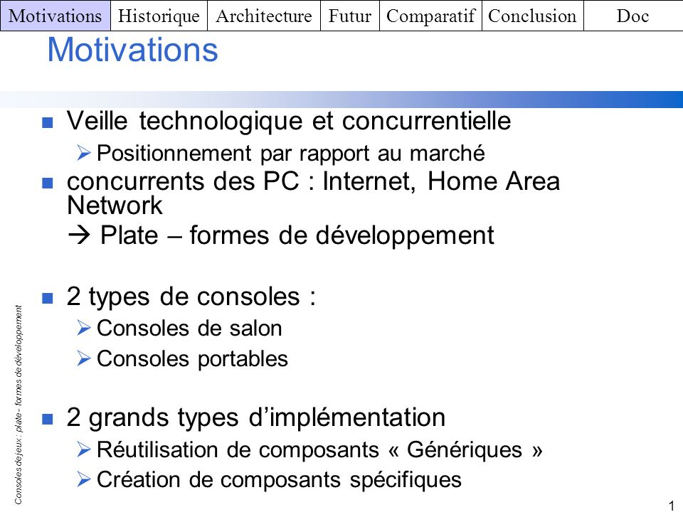 Motivations Veille technologique et concurrentielle