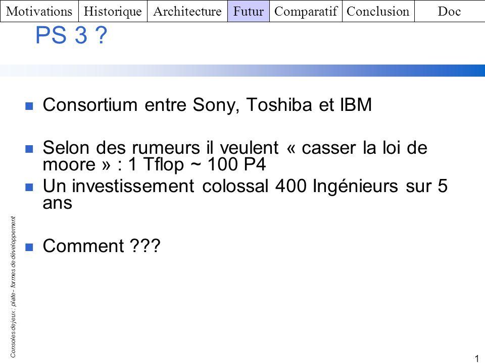 PS 3 Consortium entre Sony, Toshiba et IBM