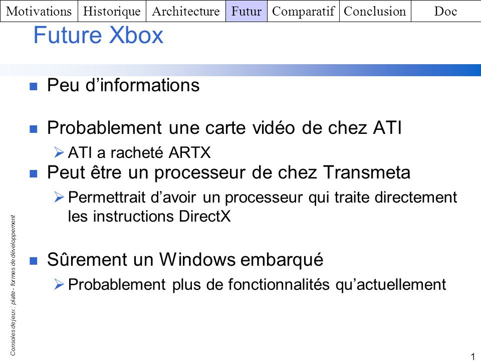 Future Xbox Peu d'informations