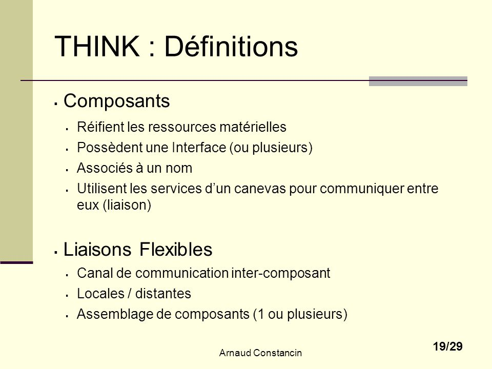 THINK : Définitions Composants Liaisons Flexibles