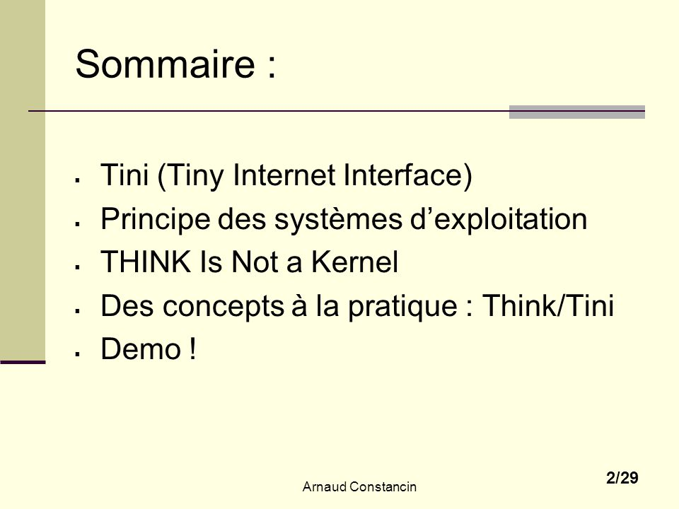Sommaire : Tini (Tiny Internet Interface)
