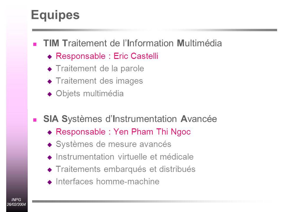 Equipes TIM Traitement de l'Information Multimédia
