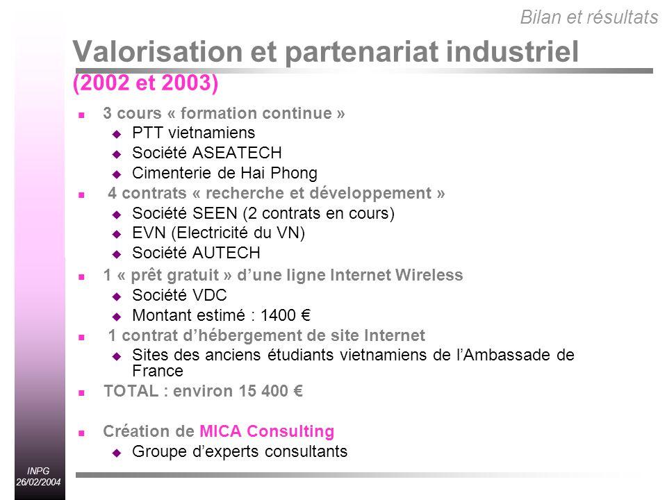 Valorisation et partenariat industriel (2002 et 2003)