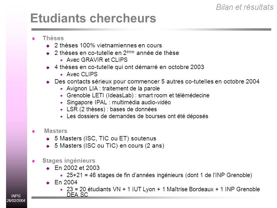 Etudiants chercheurs Bilan et résultats Thèses