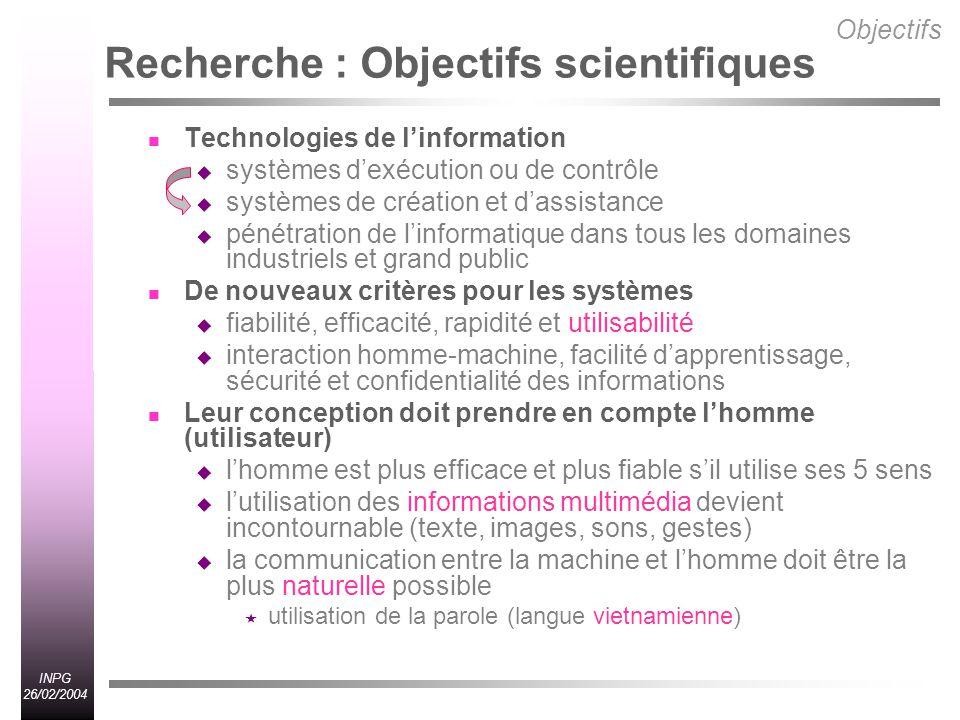 Recherche : Objectifs scientifiques