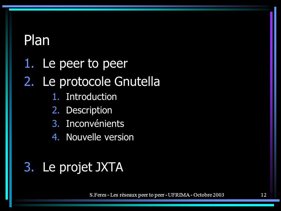 S.Feres - Les réseaux peer to peer - UFRIMA - Octobre 2003