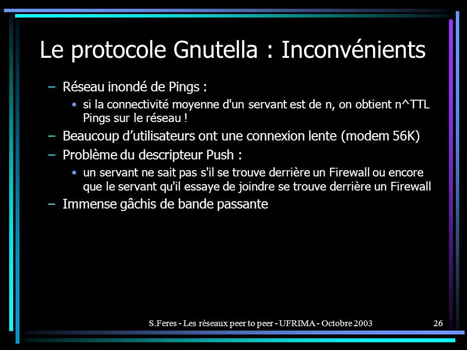 Le protocole Gnutella : Inconvénients