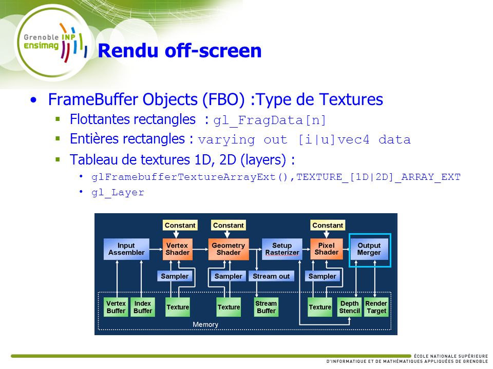 Rendu off-screen FrameBuffer Objects (FBO) :Type de Textures