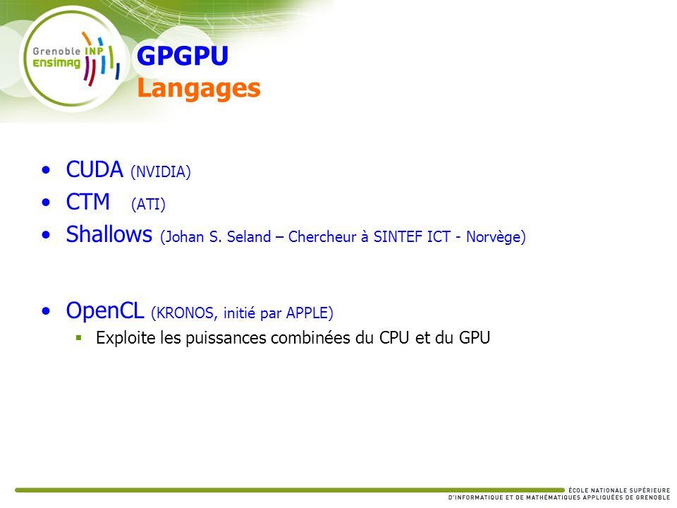 GPGPU Langages CUDA (NVIDIA) CTM (ATI)