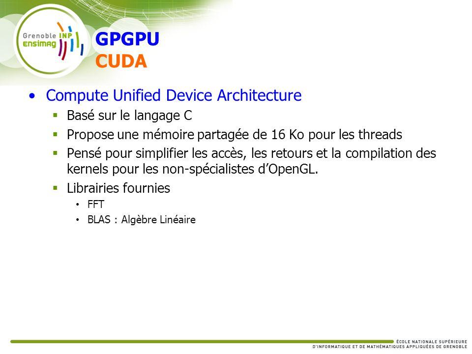 GPGPU CUDA Compute Unified Device Architecture Basé sur le langage C