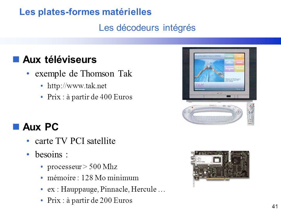 Les plates-formes matérielles Les décodeurs intégrés