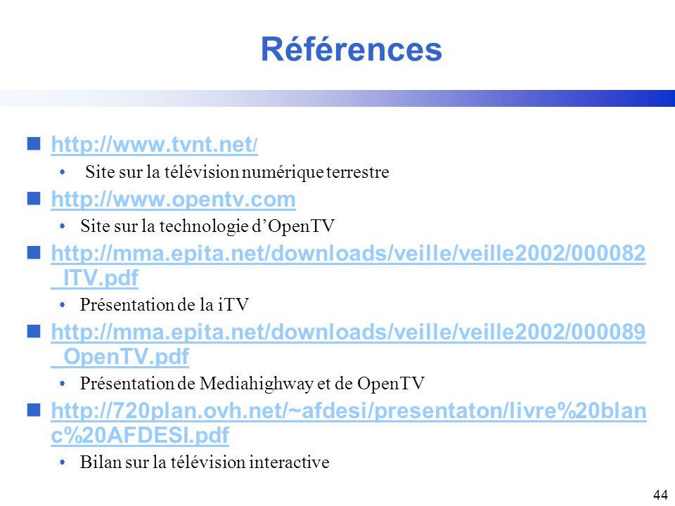 Références http://www.tvnt.net/ http://www.opentv.com
