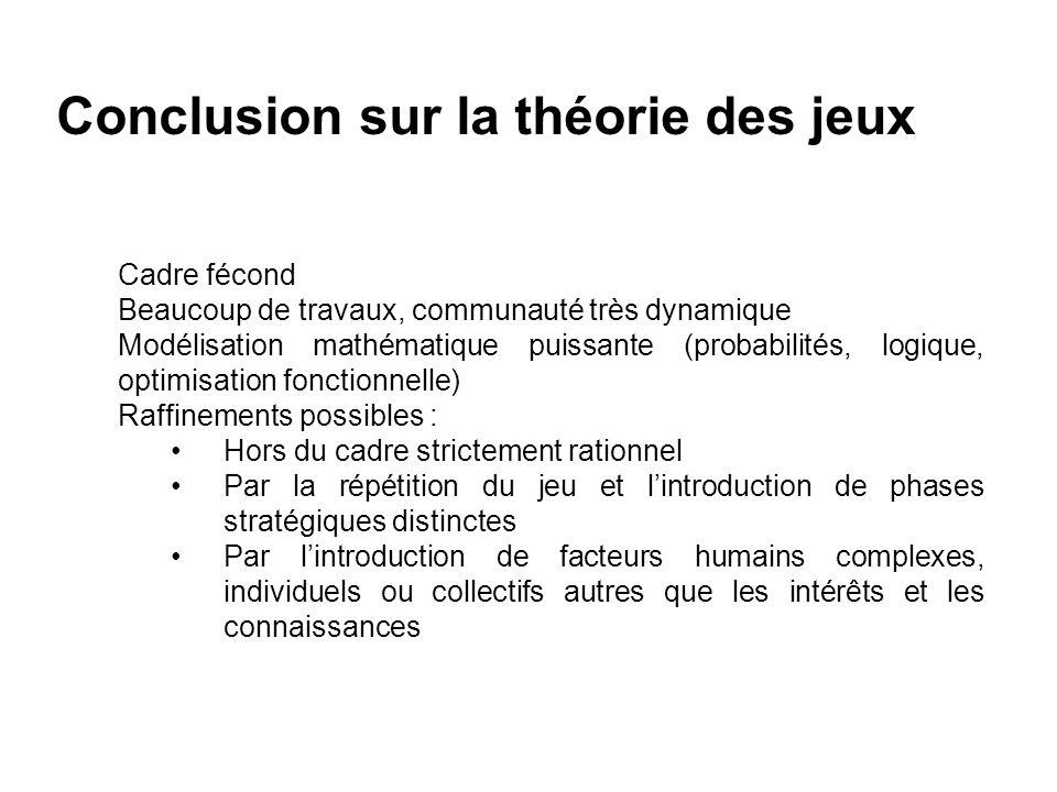 Conclusion sur la théorie des jeux