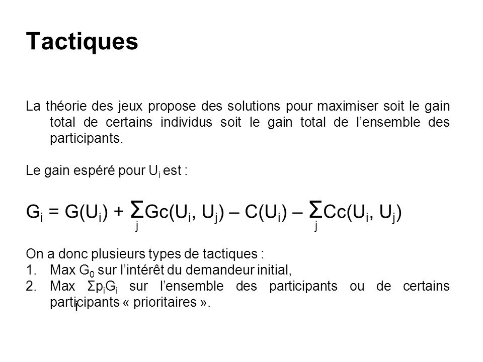 Tactiques Gi = G(Ui) + ΣGc(Ui, Uj) – C(Ui) – ΣCc(Ui, Uj)