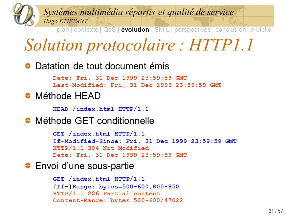 Solution protocolaire : HTTP1.1