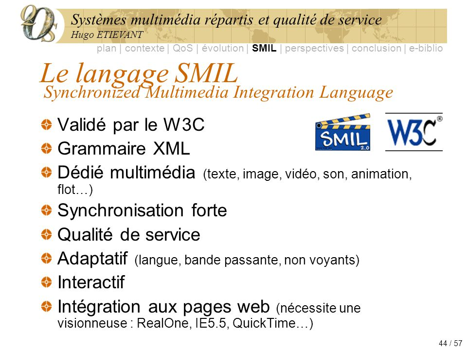 Le langage SMIL Synchronized Multimedia Integration Language