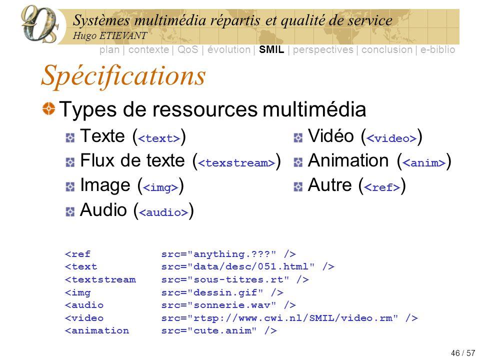 Spécifications Types de ressources multimédia Texte (<text>)