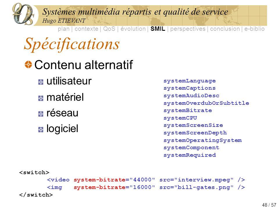 Spécifications Contenu alternatif utilisateur matériel réseau logiciel