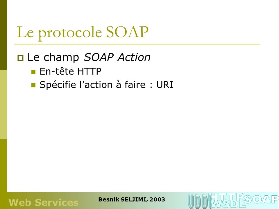 Le protocole SOAP HTTP UDDI SOAP WSDL Le champ SOAP Action