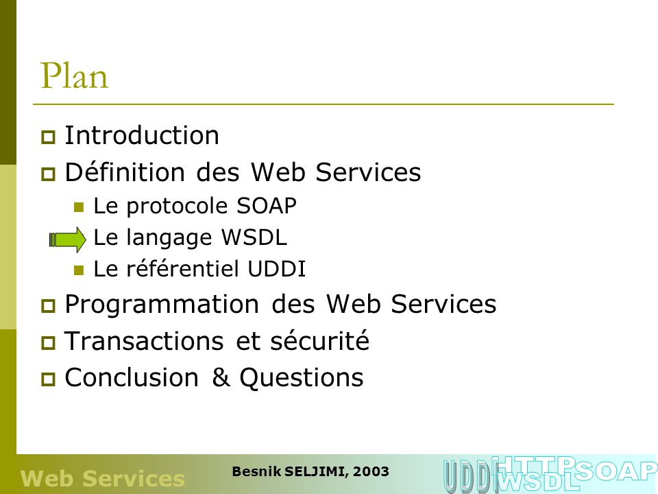 Plan HTTP UDDI SOAP WSDL Introduction Définition des Web Services