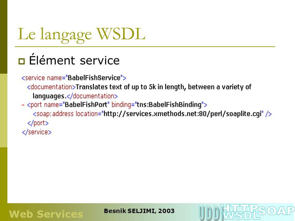 Le langage WSDL HTTP UDDI SOAP WSDL Élément service Web Services