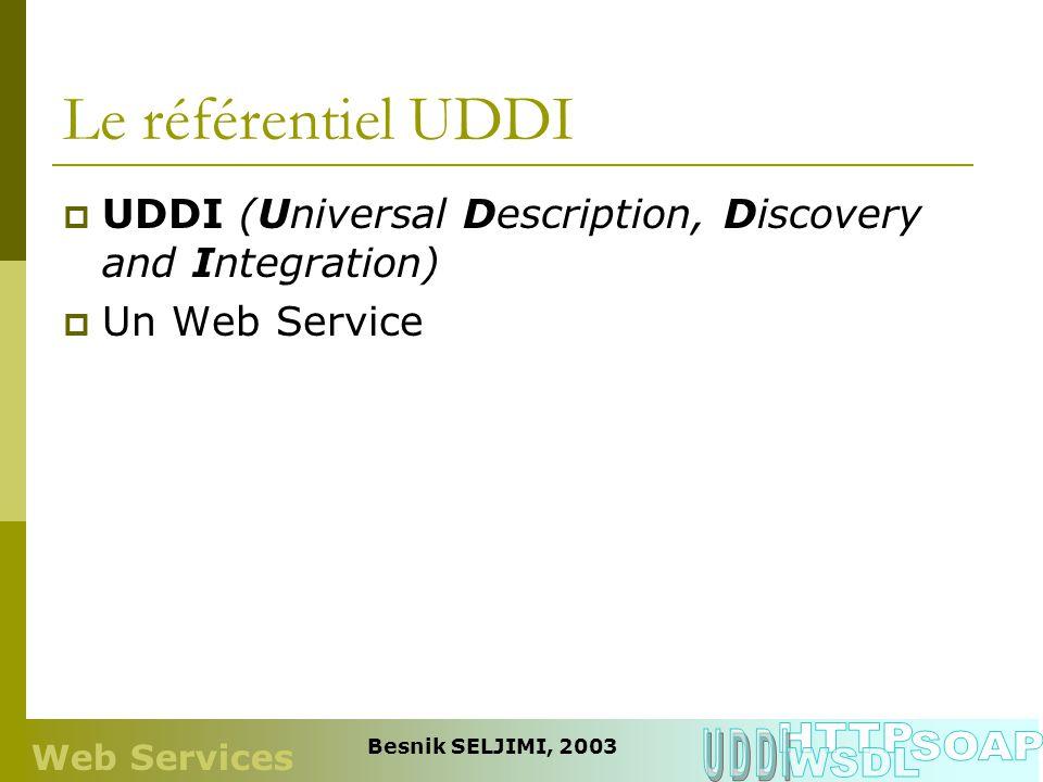 Le référentiel UDDI HTTP UDDI SOAP WSDL