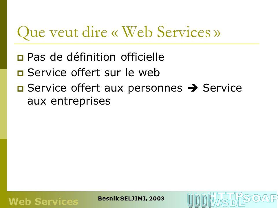 Que veut dire « Web Services »