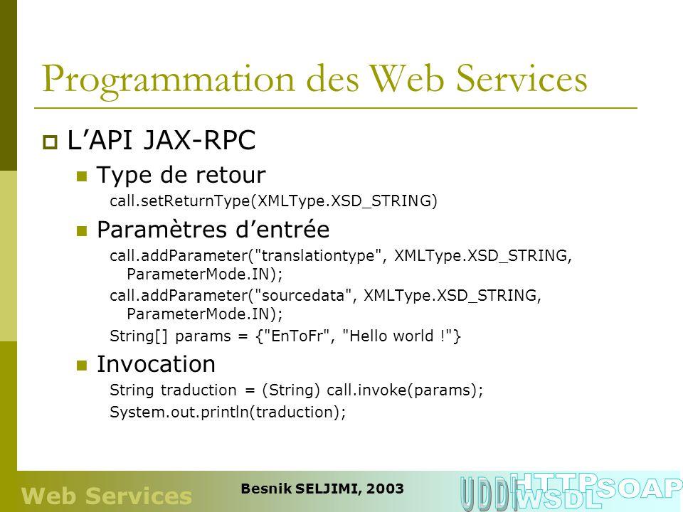 Programmation des Web Services