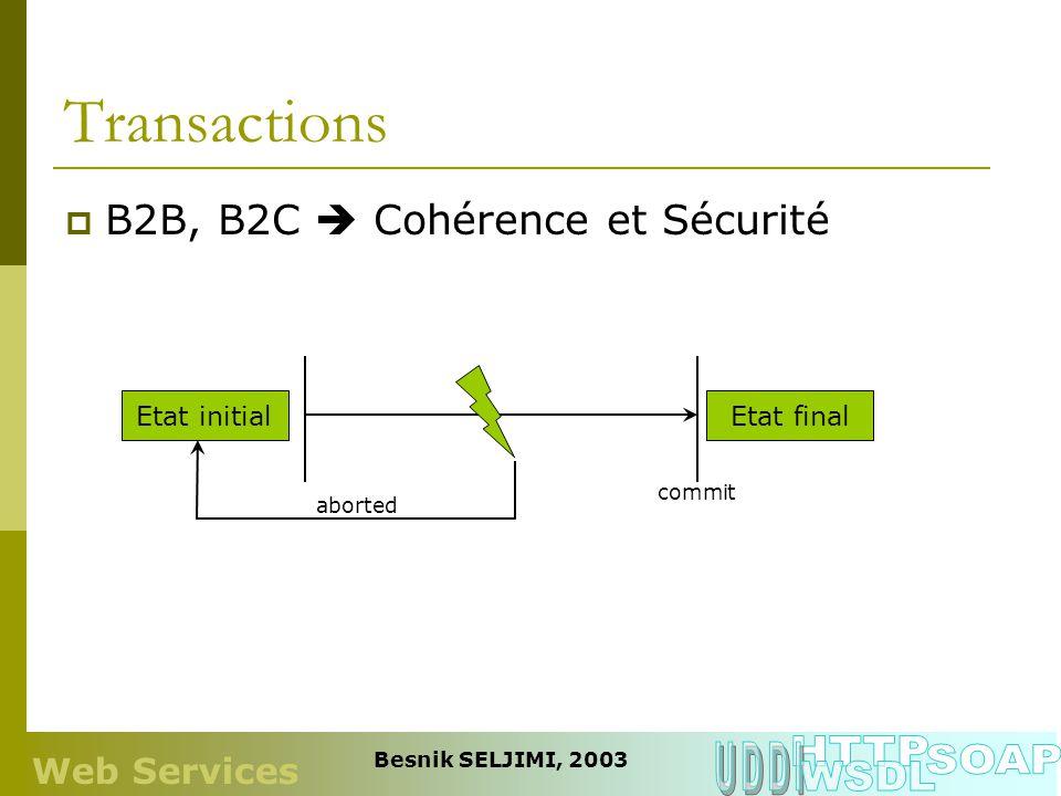 Transactions HTTP UDDI SOAP WSDL B2B, B2C  Cohérence et Sécurité
