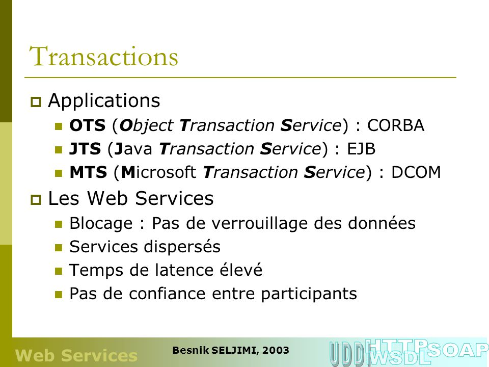 Transactions HTTP UDDI SOAP WSDL Applications Les Web Services